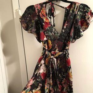 Zara multi color flower silk jumpsuit M